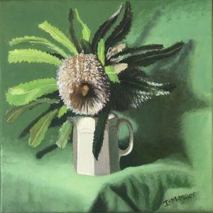 Banksia in jug, oil on linen, 32 x 32cm (incl frame)