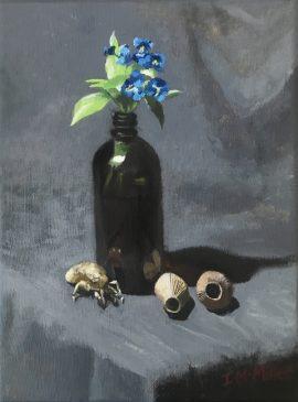 Commelina Cyanea, Cicada Shell & Eucalypt Pods, oil on linen, 26 5 x 20 5cm (incl frame)