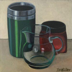 Domestic objects light & colour, oil oncanvas, 22 x 22cm