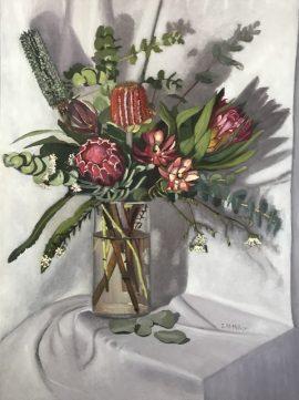 Flora Abunda 5 & Protea, oil on linen, 80 x 60 cm