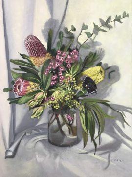 Flora Abunda 4 & Butterfly, oil on linen, 80 x 60cm