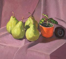 Four Pears & a Plum, oil on canvas, 37 x 53cm (incl frame)