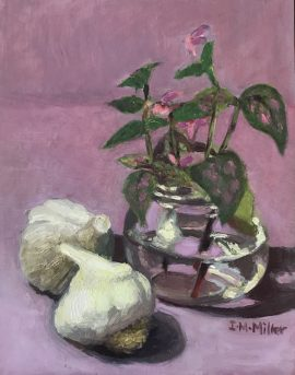 Garlics and plant in a bottle, oil on masonite board, 26 x 21 cm (incl frame)