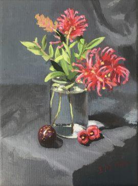 Grevillea, fig & bottle, oil on linen, 26 5 x 20 5cm (incl frame)