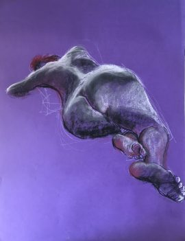 Life Drawing - Lady Extended - Red & Purple, pastel on purple paper, 65 x 50cm