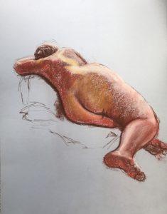 Life drawing lying woman red & orange, pastel on light blue card, 65 x 50cm