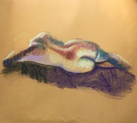 Life Drawing - Woman Lying Down - Full of Colour, pastel on yellow card, 60 x 67cm