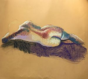 Life drawing woman lying down full of colour, pastel on yellow card, 60 x 67cm