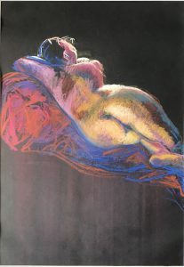 Life drawing young woman with light & colour, pastel on black paper, 42 x 30cm