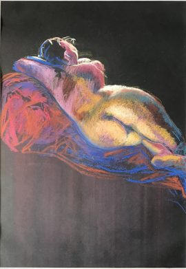 Life Drawing - Young Woman with Light & Colour, pastel on black paper, 42 x 30cm