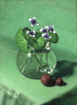 Native Violets & Native Figs, oil on linen, 26 5 x 20 5cm (incl frame)