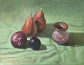Pears, Pot & Plum, oil on canvas, 36 x 46cm