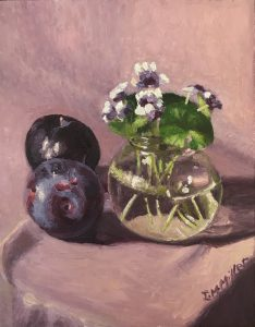 Plums & native violets, oil on masonite board, 26 x 21cm (incl frame)