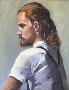 Portrait ras long golden hair, oil on canvas, 49 x 39cm (incl frame)