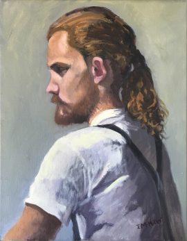 Portrait RAS Long Golden Hair, oil on canvas, 48 x 38cm (incl frame)