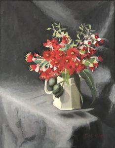 Red flowering gum in cream jug, oil on linen, 48 x 38cm (incl frame)