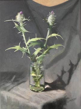 Scottish Thistle Onopardum Acanthium, oil on linen, 43 x 33cm (incl frame)
