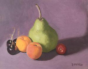 Still life fruit, oil on masonite board, 18 x 23 cm