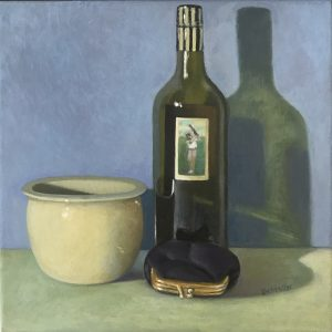 Still life green bowl & wine bottle, oil on canvas, 33 x 33cm (incl frame)