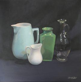 Still Life Green Vase & Glass Jug, oil on canvas, 41 x 41cm