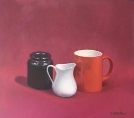 Still Life Orange Cup & White Jug, oil on canvas, 36 x 41cm