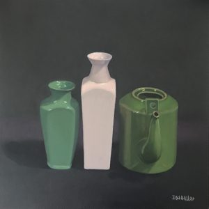 Still life pink vase & green teapot, oil on canvas, 41 x 41cm