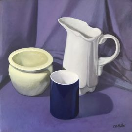 Still Life White Jug Against Purple Cloth, oil on canvas, 38 x 38cm (incl frame)