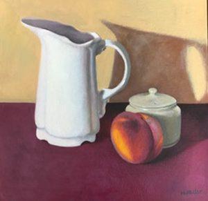 Still life white jug & peach, oil on ca nvas, 38 x 38cm (incl frame)