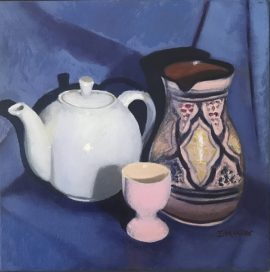 Still Life White Teapot & Pink Egg Cup, oil on canvas, 30 x 30cm