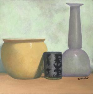 Still life yellow pot & vase, oil on canvas, 27 x 27cm