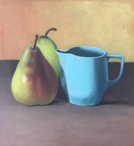 Stilll life blue jug, oil on canvas on borad, 24 5 x 22 5cm