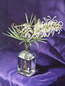 Yellow grevillea in glass bottle, oil on linen, 46 x 36cm