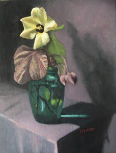 Yellow native hibiscus tiliaceus rubra, in green glass jug, oil on linen, 46 x 36cm