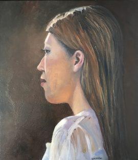 Yui, oil on canvas, 44 x 39cm (incl frame)